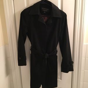 Towne by London Fog Trench Coat, Black, Size Small